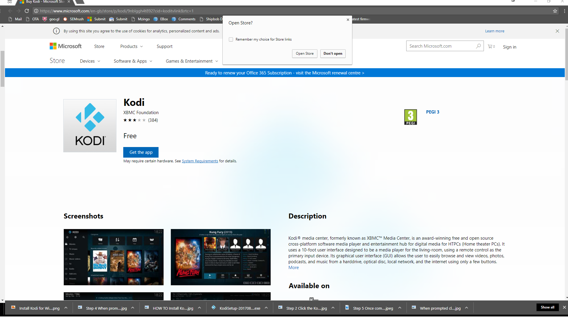 step 1 Click here to Download Kodi from the Windows Store