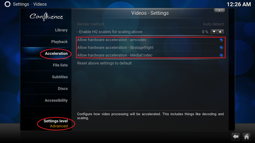 Kodi settings