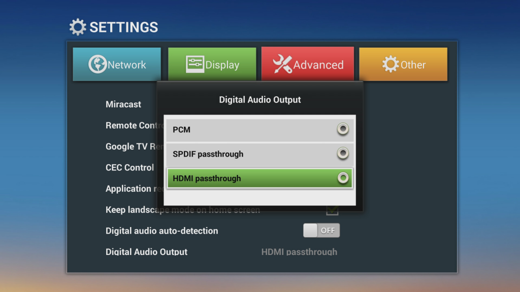 How to change Audio settings on TV Box