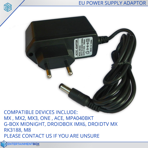 Replacement EU Power supply Adapter plug PSU G-Box MX2 M8 MXQ MX3 RK3188  Android XBMC TV Box