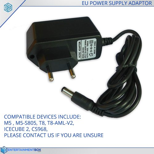 Replacement EU Power supply Adapter plug T8, M5, T8-AML-V2, IceCube2, CS968, M5-S805