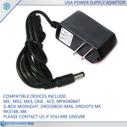 Replacement USA Power supply Adapter plug PSU G-Box MX2 M8 MXQ MX3 RK3188 Android XBMC TV Box