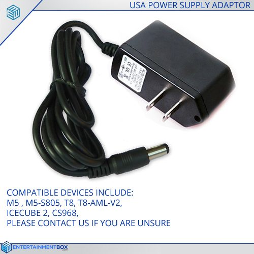 Replacement USA Power supply Adapter plug T8, M5, T8-AML-V2, IceCube2, CS968, M5-S805, IceCube2, CS968, M5-S805