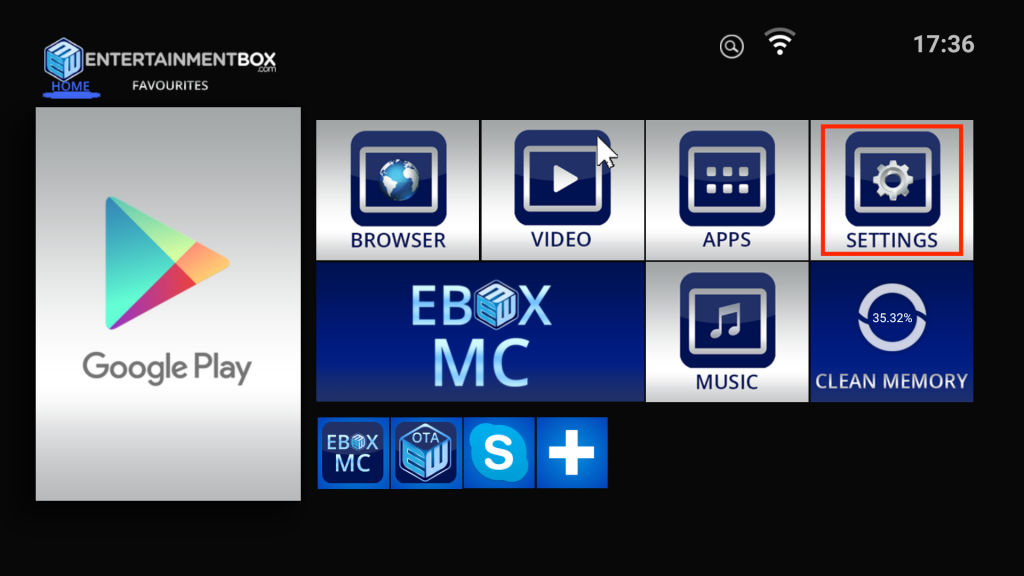 EBOX Home screen