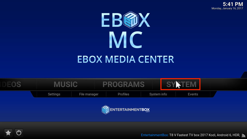 EBOX MC System Kodi has stopped responding