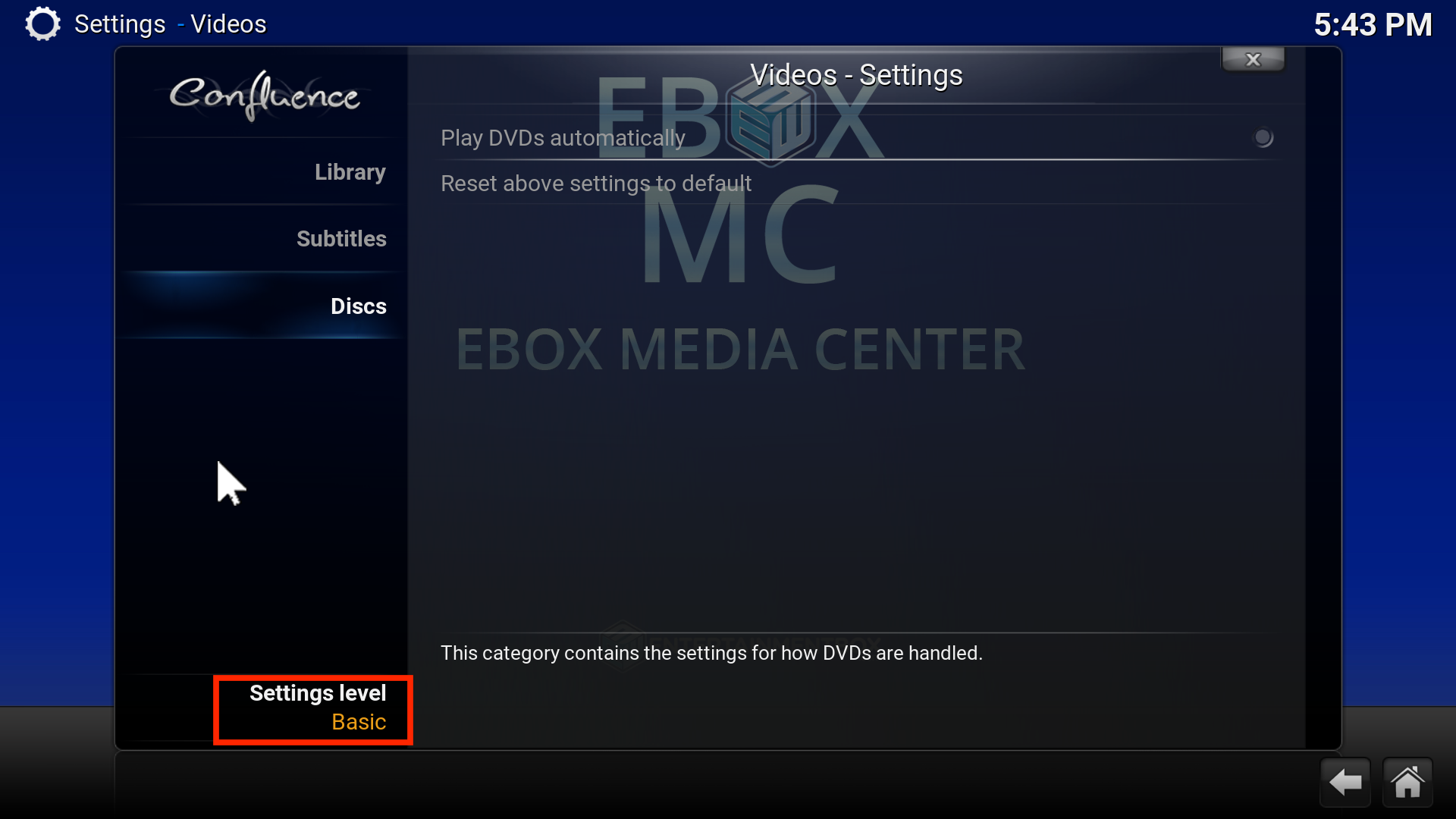 EBOX MC System Settings