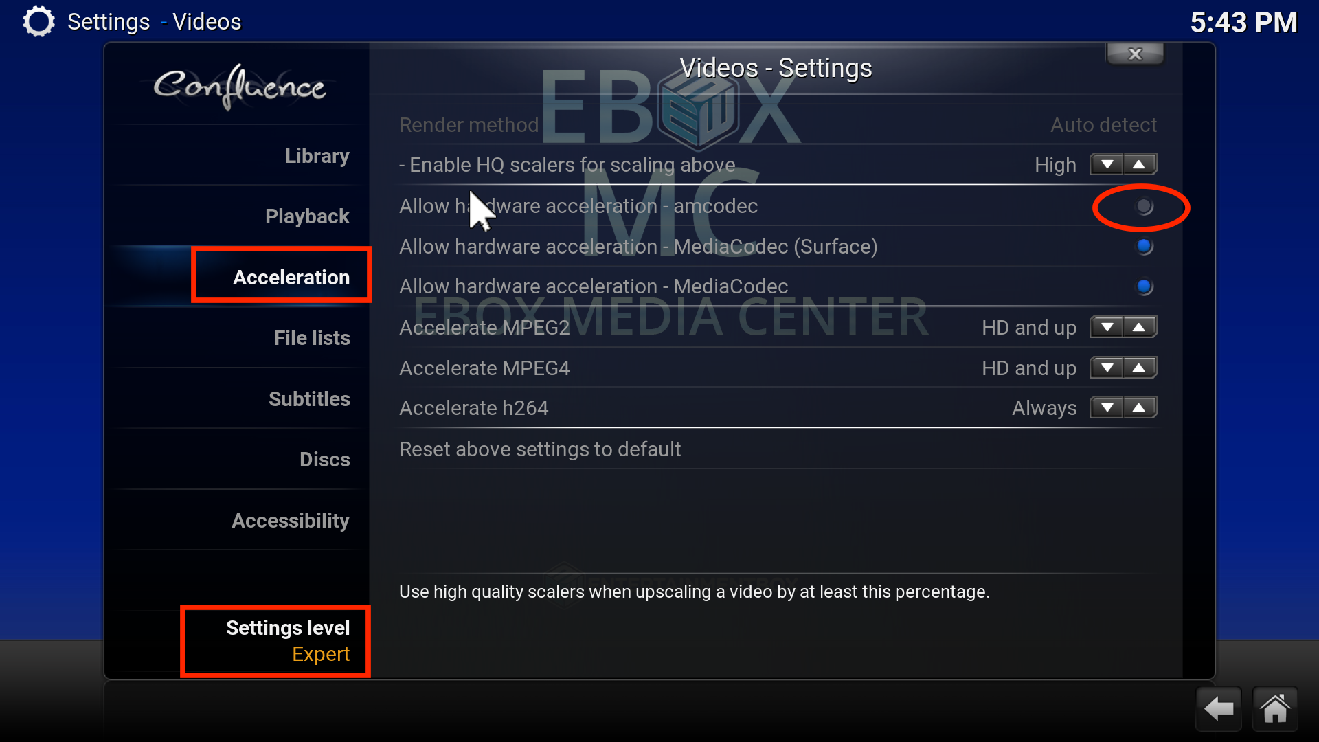 EBOX MC hardware acceleration settings