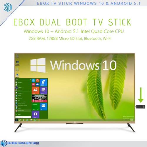 Ebox Dual Boot TV Stick, Windows 10