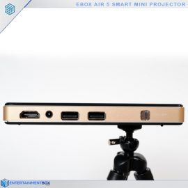 Pocket projector, side view. 2 x USB,