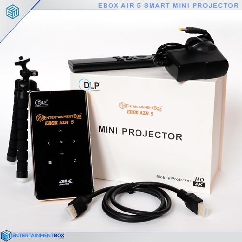 pocket projector, stand, plug, remote, HDMI cable, outer box