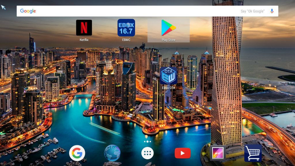 Google now launcher on a T8 V TV box
