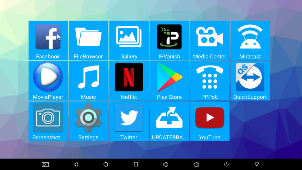 Ebox H96 Pro Plus apps screen