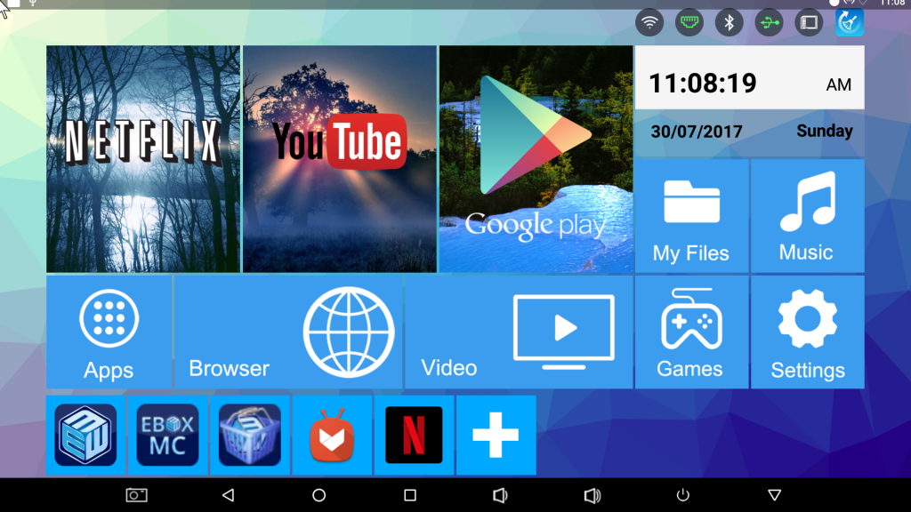 Ebox H96 Pro Plus home screen