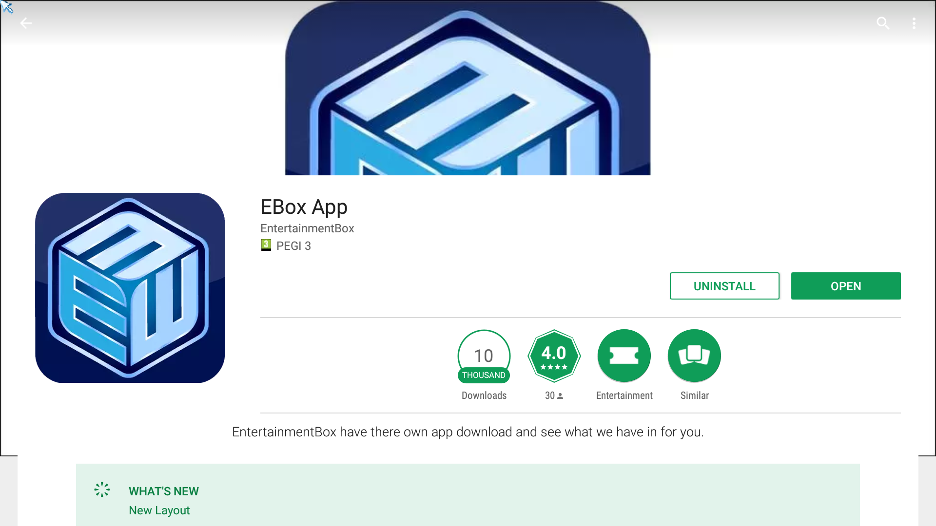 Step 1 Download the EBox app from the Play StoreAll EBox TV boxes hasthis app,