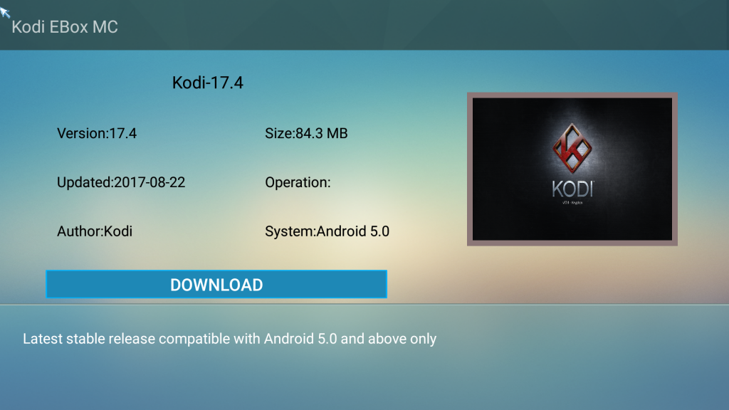 Step 2 Click on Kodi 17.4