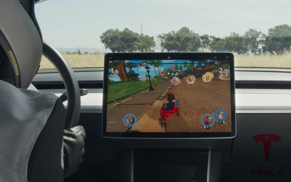 Tesla: Beach Buggy Racing 2 can be played with the car's steering wheel and pedals!