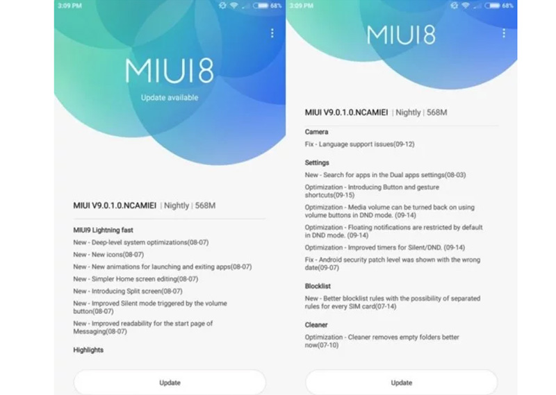 Xiaomi MIUI 9 Xiaomi Mi6 global stable version