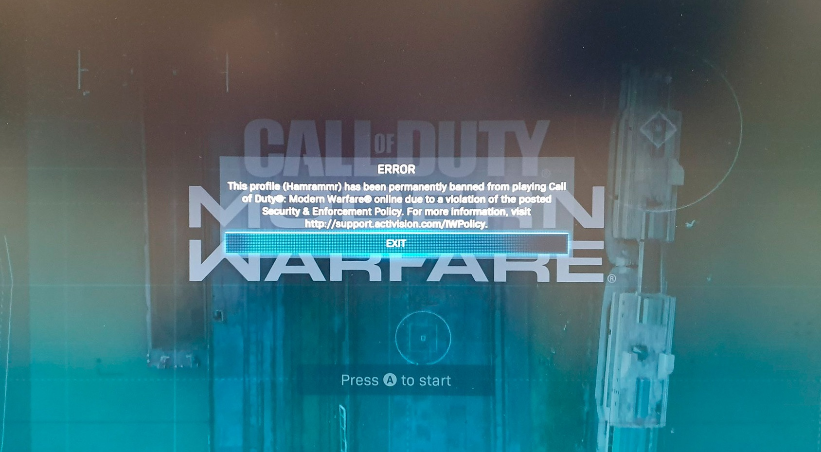 They ban a user who entered the Battle Royale of Call of Duty unintentionally