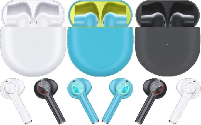 TWS OnePlus Buds earphones in various colors