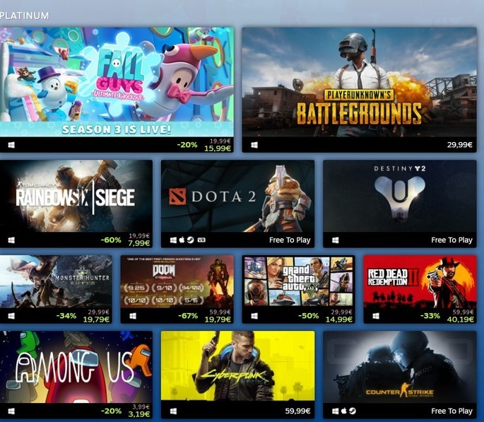Best Selling Games on Steam in 2020