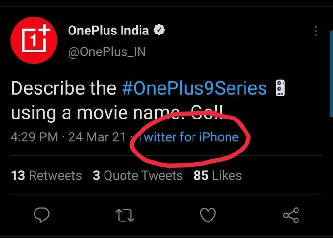 OnePlus India page tweeted from an iPhone