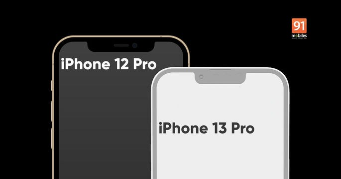 Notch size comparison on iPhone 12 Pro and alleged iPhone 13 Pro